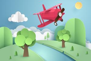 Papierkunst des rosa Flugzeuges fliegend über Wald und Fluss, Origami und Reisekonzept