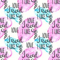 Nahtloses Muster des romantischen Zitats. Liebestextdruck für Valentinstag. Hand Schriftzug Typografie Design vektor