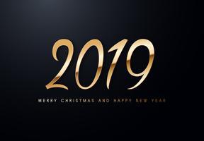 Vektor-Grußillustration des Feiertags 2019 mit goldenen Zahlen.