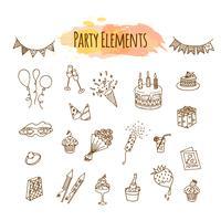 Hand gezeichnete Partydekorationen und -elemente. Geburtstag dekorative Darstellung. vektor