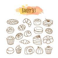 Bäckerei-Elemente. Gebäck Abbildung. vektor
