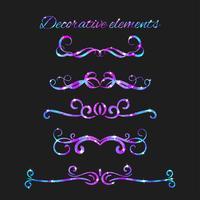 Vektor-Flourishes Teiler eingestellt. Hand gezeichnete dekorative Strudel mit Funkeln. Kalligraphische Dekorationen mit Glitzern. Raumtextur. Glühende Sterne Wirkung. vektor