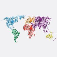 Weiße Weltkarte gemacht durch Bälle, Vektorillustration