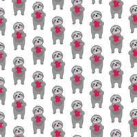 sloth mönster med röda hjärtan
