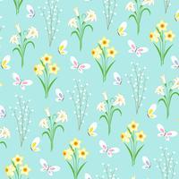 Ostern-Blumenmuster mit Schmetterlingen auf hellblauem