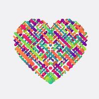 Färgrik form av ett hjärta, vektor illustration