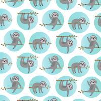 sloth mönster med blå cirklar