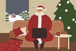 Weihnachtsmann sitzt auf dem Sofa mit Laptop im Holzhaus vektor