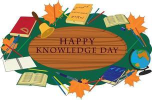 Happy Knowledge Day Holzschild verziert mit Schulmaterial vektor