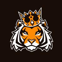 Tiger im Kronen-Vektor-Maskottchen