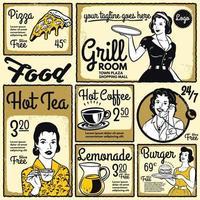vintage design meny restaurang eller diner mall vektor