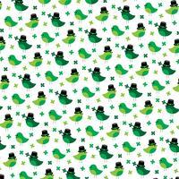 Saint Patricks Day söta fåglar och shamrockmönster vektor