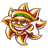 Vektor Rasta Sun med Spliff