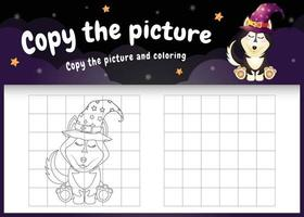 Kopieren Sie das Bild Kinderspiel und die Malvorlage mit einem süßen Husky-Hund vektor