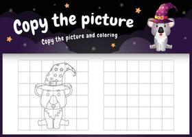 Kopieren Sie das Bild Kinderspiel und die Malvorlage mit einem süßen Koala vektor