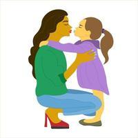 Mutter umarmt ihre Tochter mit großer Liebe und Zärtlichkeit. Muttertag vektor