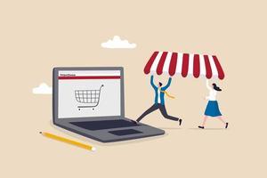 Shop online eröffnen, E-Commerce-Shop starten, der Produkte online verkauft vektor