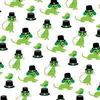 Saint Patrick's Day katter hundar fåglar mönster vektor