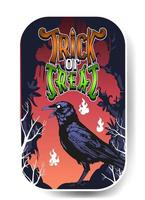 Halloween-Krähe-Vektor-Illustration, Krähe auf dem Friedhof vektor