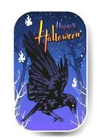 Krähe auf dem Friedhof, glückliche Halloween-Krähe-Vektorillustration vektor