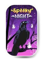 Halloween-Krähe-Vektor-Illustration, gruselige Nacht vektor
