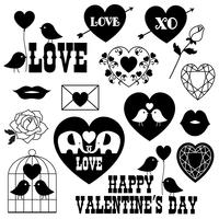 valentines dag svart silhuetter vektor