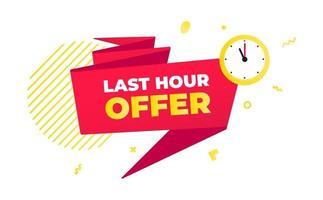Letzte Stunde Angebot Verkauf Countdown-Band-Abzeichen-Symbol vektor