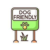 Hundefreundlicher Ort grünes RGB-Farbsymbol vektor