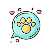 Haustiere freundlicher Bereich gelbes und blaues RGB-Farbsymbol vektor