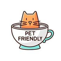 Katzenfreundliches Café braunes und weißes RGB-Farbsymbol vektor