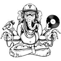Ganesha mit musikalischem Attribut-Vektor