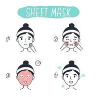 Schritte zum Auftragen einer kosmetischen Gesichtsmaske. Vektorelemente.3 vektor