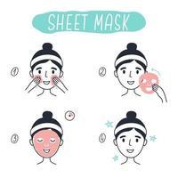 Schritte zum Auftragen von kosmetischen Gesichtsmaskenelementen. 2 vektor