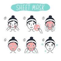 Schritte zum Auftragen von kosmetischen Gesichtsmaskenelementen. 3 vektor