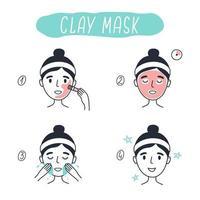 Schritte zum Auftragen einer kosmetischen Tonmaske für das Gesicht. Vektorelemente. vektor