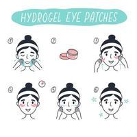 Schritte zum Anbringen von Hydrogel-Augenpflastern. Vektorelemente. vektor