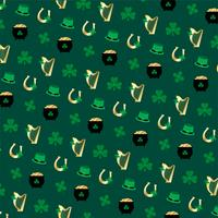 Saint Patrick's Day Harfenhufeisen- und Shamrockmuster vektor