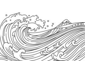 große orientalische Welle Ozean-Vektor-Illustration. vektor