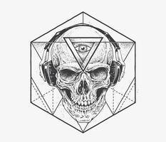 Dotwork-Schädel-Kunst vektor