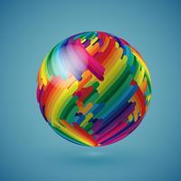 Bunte realistische Kugel mit schattierter Oberfläche, Vektorillustration