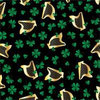 St. Patricks Day Harfe und Klee Muster auf schwarz vektor