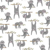 sloth mönster på vit bakgrund