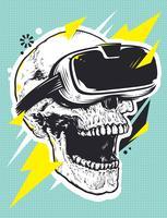Schädel in der VR-Brille-Pop-Art vektor