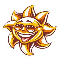 Tecknad Happy Sun Vector Art