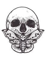 Schädel mit Mottenvektor