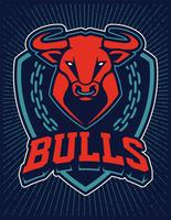 Bull Mascot Emblem Design Mall vektor