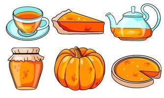Herbst eingestellt. Kürbis, heißer Tee, Wasserkocher, Becher, Kürbiskuchen, Marmelade. vektor