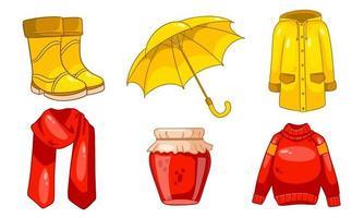 Herbst eingestellt. Marmelade, Schal, Regenmantel, Pullover, Gummistiefel, Regenschirm. vektor
