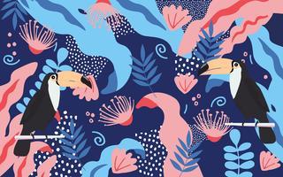 Tropischer Dschungel verlässt und blüht Plakathintergrund mit Tukan vektor