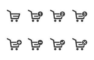 Vektor der Einkaufswagen-Ikone gesetzt